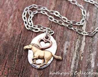 Horse Necklace, Horse Jewelry, Equestrian Necklace, I Love My Horse, Heart Horse Jewelry