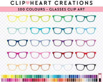 100 Glasses Clipart, Commercial use, PNG,  Digital clip art, Digital images, Rainbow digital scrapbooking clip art, glasses, eyewear clipart