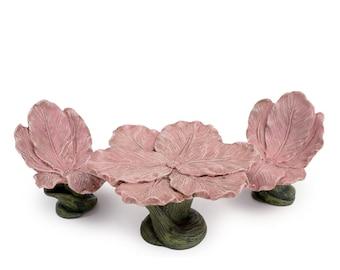 Pink Flower Bench for Fairies ~ Miniature Woodland Pink Iris Bistro Set Table w/ Two Chairs ~ Fairy Garden Furniture Accessories & Supplies