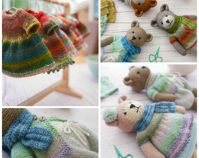 New! Sock Yarn Pinafore and Cardigans plus free Little Bear Scarf supplement/PDF knitting pattern/INSTANT download/ Doll clothes