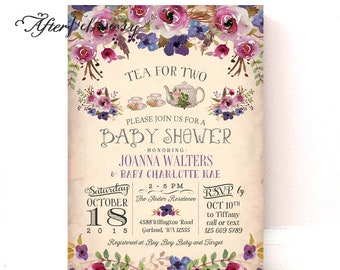 Tea Party Baby Shower Invitation Plum Purple Floral Fall Baby Shower Invite Tea Party Invite // Printable OR Printed No.1332BABY