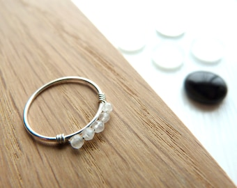 Minimalist - 54 T - 925 sterling silver ring and natural stone / rose quartz ring
