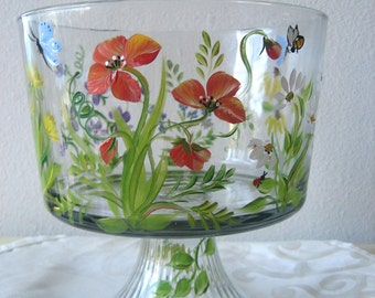 Hand painted glass trifle bowl with wildflower pattern,housewares,home and garden,kitchen. .