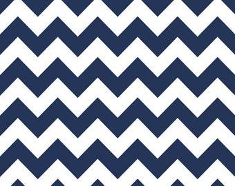 Navy Blue Medium Chevron Fabric by Riley Blake. 100% cotton. Zig Zag Modern Designer Fabric - c320-21