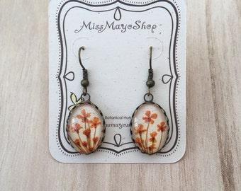 Orange earrings, cool earrings, real flower earrings, real flower jewelry, Bride earrings, Bridal earring, gifts for women, unique jewelry