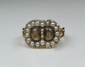 Antique Georgian 1812 Gold & Split Pearl Memorial Mourning Ring