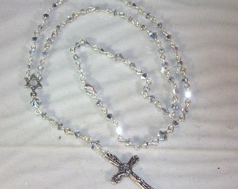 Swarovski Crystal Jewelry - Rosary Necklace - Comet Argent -  Made to Order - Any Color Crystal or Pearl