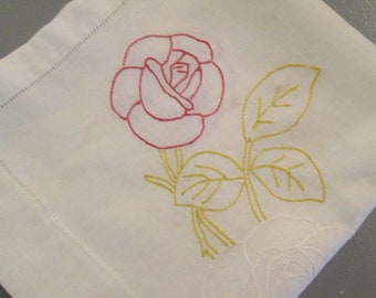 """Vintage Embroidered Dresser Scarf/ Table Runner - White Cotton With Hemstitching - White Yellow Red - 15"""" by 32"""""""