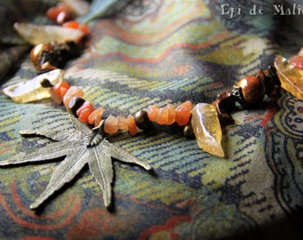 Woodland, Autumnal, Necklace, Natural, orange, brown, elfin, fairy, magical, crystals, bronze, with leaves, czech glass beads,