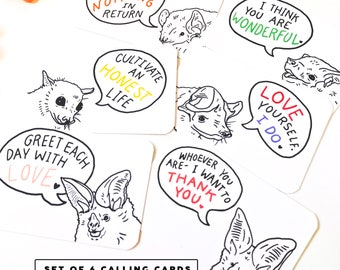 LOVING & WISE <->  Set of 6 Wise ⅋ Loving Bat Calling Cards Motivational Inspirational Illustration Merlin Tuttle Gift Lunch Box Notes Cute