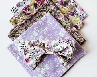 Purple Liberty of London Print Pocket Square, custom pocket square, purple pocket square, groomsmen necktie, groomsmen pocket square, lilac
