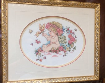 Cherub Baby Angel with Flowers and Butterflies Finished and Framed Cross Stitch