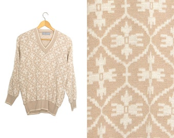 Vintage V Neck pullover sweater beige and white. Geometric abstract sweater. Womens sweater large L/G.