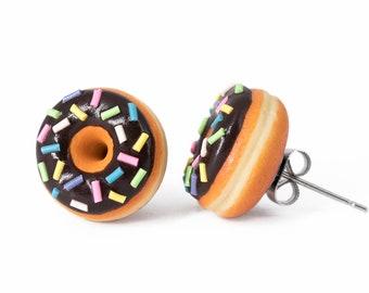 Chocolate Glazed Doughnut Earrings With Sprinkles, Donut Earrings