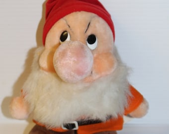 GRUMPY Stuffed Animal, Vintage Plush, Sears 50th Anniversary Edition Dwarf, Snow White and the Seven Dwarfs, plush collectible toy
