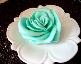 ROSE SOAP, Heart, Aqua, Flower Soap, For Her, Light Teal, Rose Heart, Valentine's Day, Scented in White Jasmine, Handmade, Vegetable Based