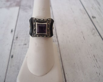 Vintage Art Deco Style 925 Sterling Amethyst, Onyx and Marcasite Ring, Size 7, 6 Grams