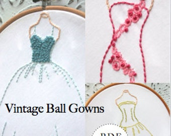 "PDF Hand Embroidery Pattern - Vintage Ball Gowns Set 3 Dresses  -  7"" tall"