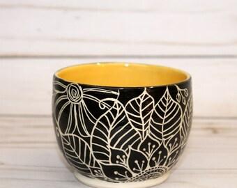 Sunflower Sgraffito Small Vase, succulent vase