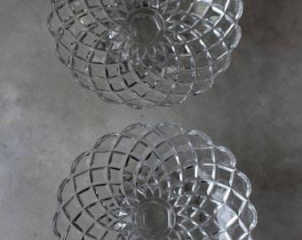 Pair Vintage Pressed Glass Compote