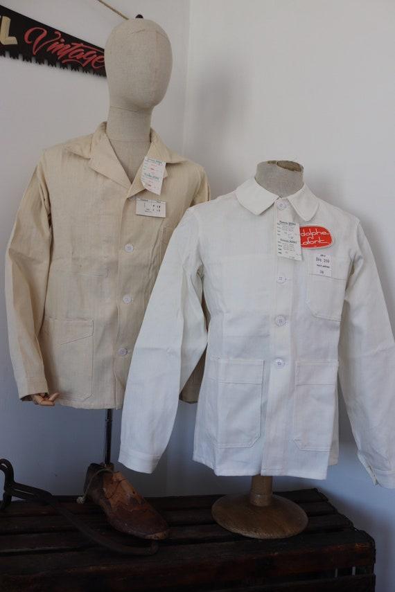 "Vintage 1960s 60s deadstock french white blanc de travail painters hbt cotton herringbone twill chore work jacket workwear 42"" 44"" chest"