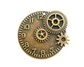 steampunk bronze watch gear 40x40mm watch face charm pendant