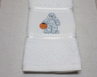 Cross Stitch Halloween Mummy Fingertip Towel