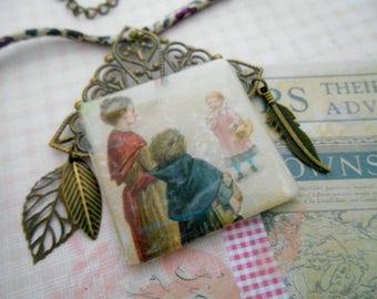 vintage necklace retro, nostalgia back to school, school, retro kids Locket theme