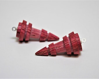 Wood beads, Customizeable, 1 pair, Pink, hand carved