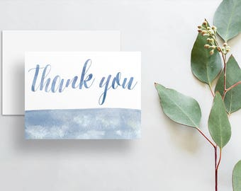 Watercolor Calligraphy Thank You Cards / Ash Blue Slate Blue Watercolor / Thank You Notes / Printed Folded Thank You Cards