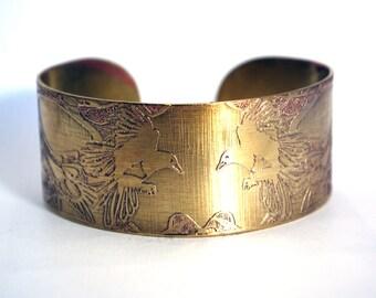 Magpie Brass Cuff Bracelet Etched Brass