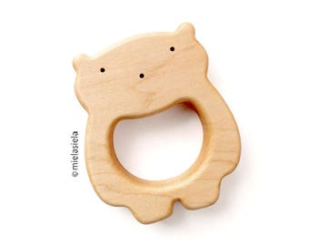 Baby Toy - Organic Wooden Teether - Teething Toy - Natural Wooden Toy - Teddy Bear - Baby gift