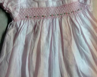 Hand smocked, Baby dress, baby girls dress, party dress, birthday dress , 0-06 months, pink green and white