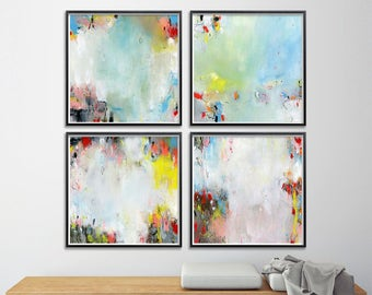 Abstract Painting. Set of Four GICLEE PRINTS 8x8. Blue Aqua pink white. Modern painting, nursery art, express shipping
