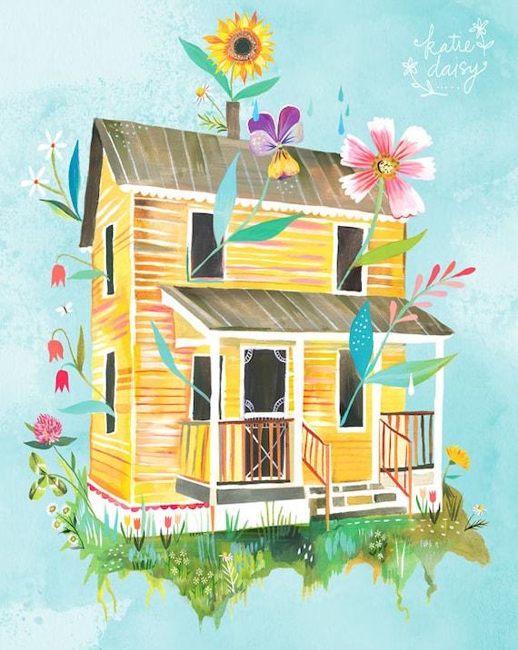 Sunny Yellow Farmhouse Art Print Country Wall Art House