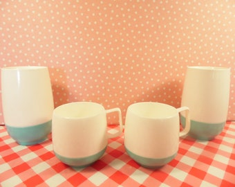 Vintage Turquoise Tumbler Glasses And Coffee Cups - Insulated