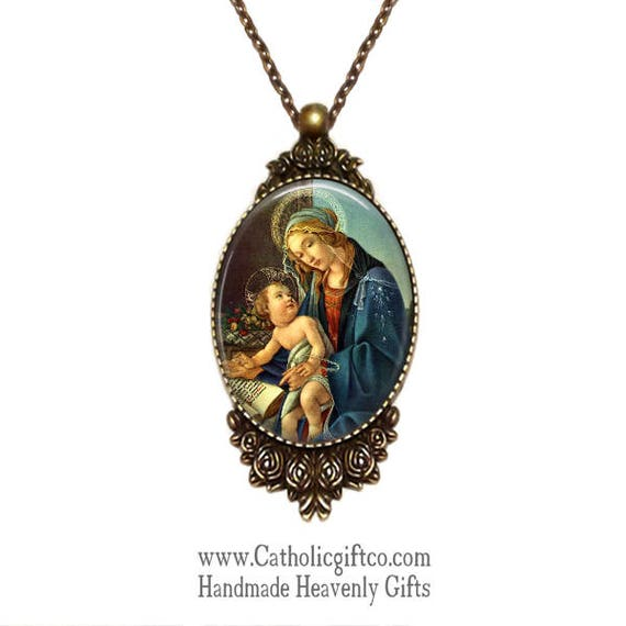 Blessed Virgin Mary Necklace with 18 or 24 inch chain - Catholic Necklace - Bronze setting framed in roses