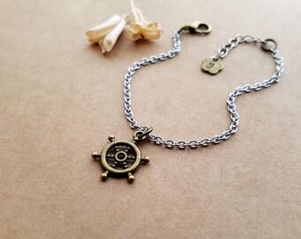 Rudder Bracelet, best friends jewelry, friendship bracelet, boyfriend gift, personalized gift, friend gift, initial bracelet, rudder jewelry
