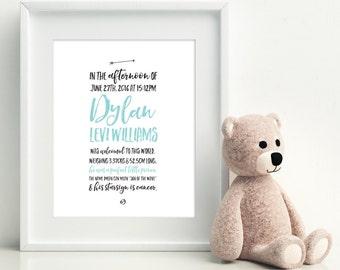 Custom Birth Print, Personalised Nursery Decor, Name Print, Baby Room Art, Nursery Wall Art, Baby Name Art.