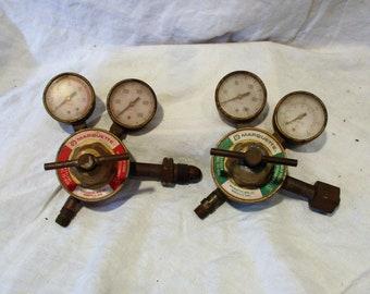 Acetylene Pressure Regulators, Pair of Marquette Welding Gauges, Industrial Minneapolis Factory Salvage, Steampunk
