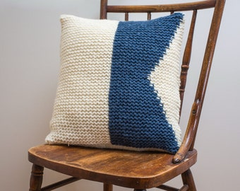 """Nautical Signal Flag """"A"""" Pillow Cover - knit in wool"""