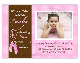 Custom Ballerina Shoes Birthday Photo Card Invitation ( Digital File)