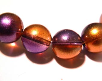 15 beads - 12 mm - two-tone Pearl - painted glass translucent purple / orange-glass - G63-1