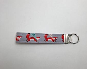 Fox Fabric key fob, key holder, Fox Key fob, fox keychain