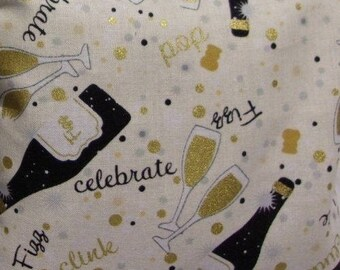 Gold and Silver Champagne Toast Let's Celebrate Cotton Fabric 1/2 Yard Cut New