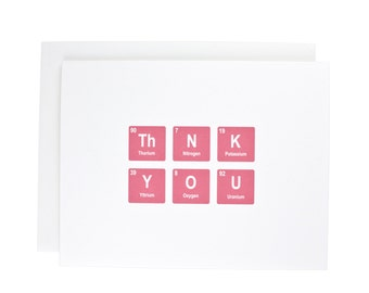 Thank you greeting card, periodic table, thanks, geeky, thank you, pink