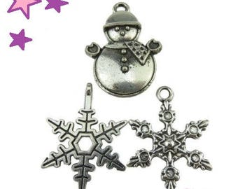 3 charms from 23 to 24 mm mixed winter / snowman snowflake weather silver-plated