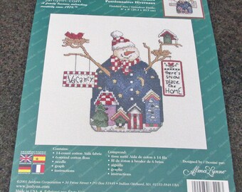 Janlynn Counted  Cross Stitch Kit 83-202 Snow Boarders Vacancy Sign  Winter Scene Alma Lynne 14 Count Aida Snowman New Unopened