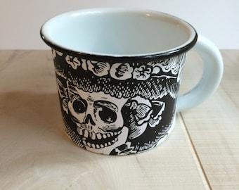 Jour de la mort Halloween Catrina sucre crânes émail tasse à café tasse métal émaillé