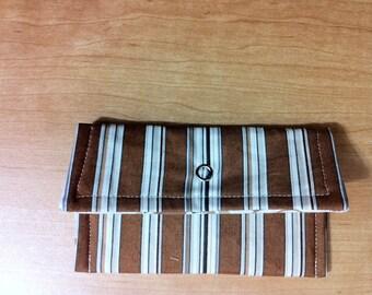 Snap Wallet Brown Stripes